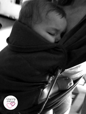 headrest sleeping baby in a meitai carrier