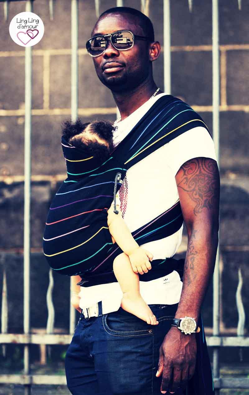 meitai porte bébé physiologique papa porteur Mid-Taï Black Rainbow LLA